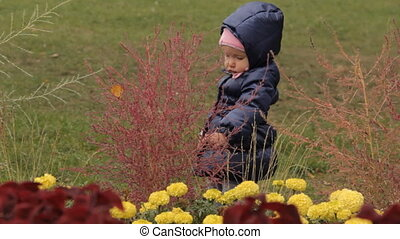 A baby girl beating bushes on a flower bed with the palm of her hand. Red ornamental plants and yellow flower in the foreground.
