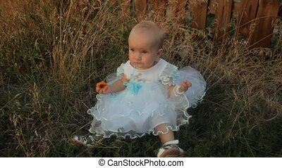 A baby girl sitting in the high grass in a white dress and eating an apricot. Sunset in summer.