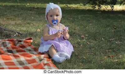 A baby girl with a soother sitting on the grass by a blanket.