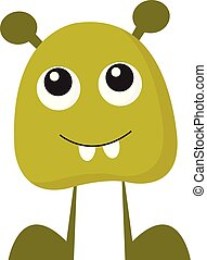 A baby green monster vector or color illustration