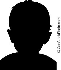 a baby head, silhouette