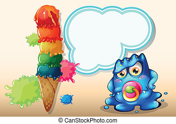 A baby monster with an empty callout near the giant icecream