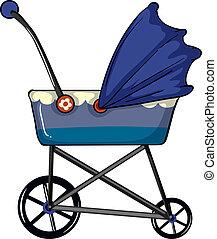 A baby pram - Illustration of a baby pram on a white...