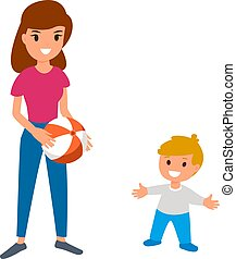 A babysitter or nanny is playing the ball with the baby....