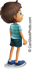 Illustration of a back view of a young boy on a white background