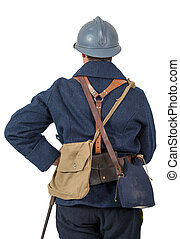 back view of French soldier 1914 1918 isolated on white background