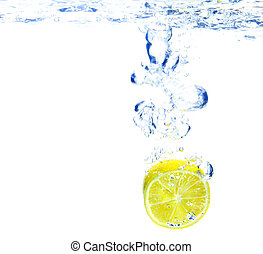 A background of bubbles forming in blue water after lemon is...