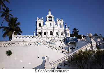 A background with a view of the beautiful Ora Pronobis Church in Goa, India.
