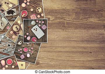 bath accessories on a wooden board