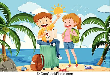 a, backpacker, på, sommar ferier