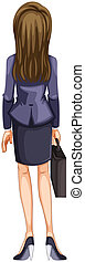 Illustration of a backview of a business woman on a white background