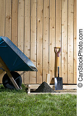 DIY, home concreting project with wheelbarrow