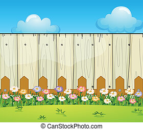 A backyard with flowers - Illustration of a backyard with...