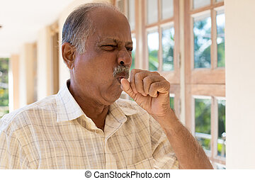 A bad cough - Closeup portrait, old man coughing with post ...