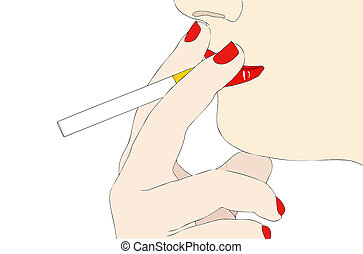 A bad habit - Symbolic illustration depicting a woman with a cigarette in his mouth