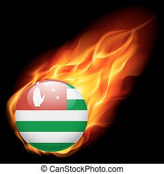 A badge in colours of Abkhazia flag