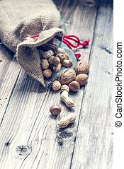 a bag full of nuts and almonds