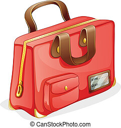 a bag - illustration of a red bag on a white background