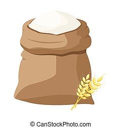 A bag of flour and a shovel, wheat, ears of wheat.