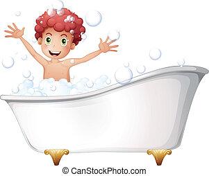 a, baignoire, à, a, jeune garçon, jouer