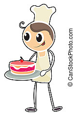 A baker holding a tray of cake - Illustration of a baker...