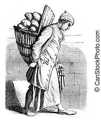 A Baker in the eighteenth century, vintage engraving. - A...