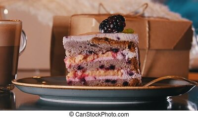A bakery. A sweet breakfast. A piece of blackberry cake and...