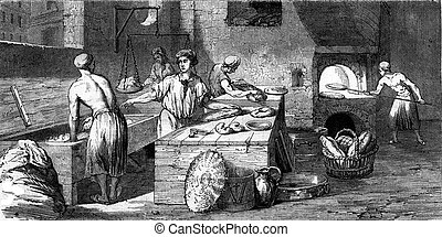 A bakery in the eighteenth century, vintage engraving. - A...