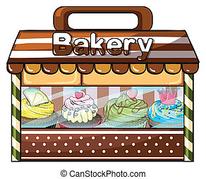 A bakery selling baked goodies and cakes - Illustration of a...