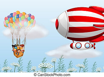a, balões ar quente, com, crianças