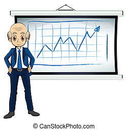 A bald old businessman in front of the whiteboard