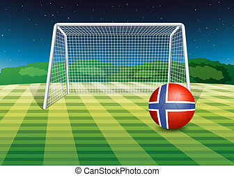 A ball at the field with the flag of Norway