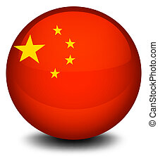 A ball designed with the flag of China
