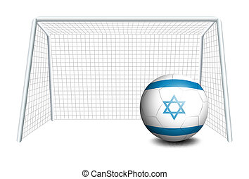 A ball near the net with the flag of Israel - Illustration...