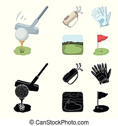 A ball with a golf club, a bag with sticks, gloves, a golf course. Golf club set collection icons in cartoon, black style vector symbol stock illustration web.