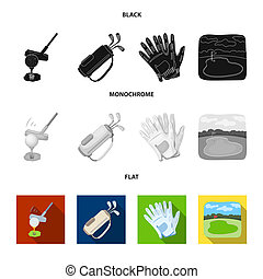 A ball with a golf club, a bag with sticks, gloves, a golf course. Golf club set collection icons in black, flat, monochrome style vector symbol stock illustration web.