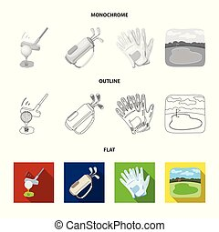 A ball with a golf club, a bag with sticks, gloves, a golf course. Golf club set collection icons in flat, outline, monochrome style vector symbol stock illustration web.
