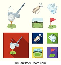 A ball with a golf club, a bag with sticks, gloves, a golf course. Golf club set collection icons in cartoon, flat style vector symbol stock illustration web.