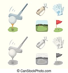 A ball with a golf club, a bag with sticks, gloves, a golf course. Golf club set collection icons in cartoon, monochrome style vector symbol stock illustration web.