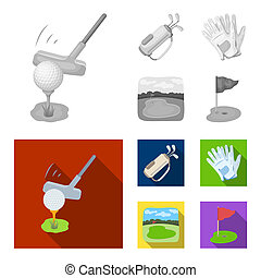 A ball with a golf club, a bag with sticks, gloves, a golf course. Golf club set collection icons in monochrome, flat style vector symbol stock illustration web.