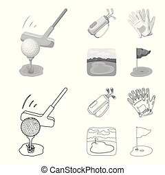 A ball with a golf club, a bag with sticks, gloves, a golf course. Golf club set collection icons in outline, monochrome style vector symbol stock illustration web.