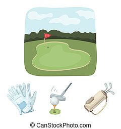 A ball with a golf club, a bag with sticks, gloves, a golf course. Golf club set collection icons in cartoon style vector symbol stock illustration web.