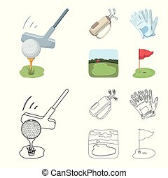 A ball with a golf club, a bag with sticks, gloves, a golf course. Golf club set collection icons in cartoon, outline style vector symbol stock illustration web.