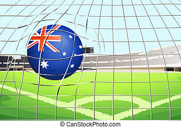 A ball with the flag of Australia touching the net