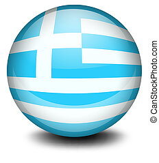 A ball with the flag of Greece