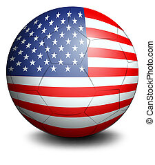 A ball with the USA flag