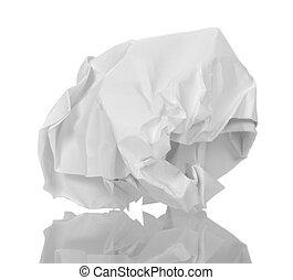 a, balle, chiffonné, blanc, papier, isolé, sur, white.
