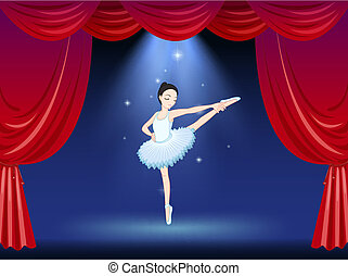 A ballerina at the stage with a red curtain