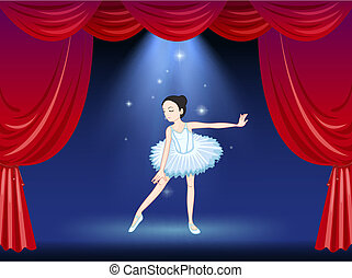 A ballerina dancing at the stage