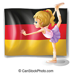 A ballet dancer in front of the flag of Germany